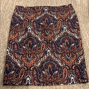 J. Crew paisley pencil skirt